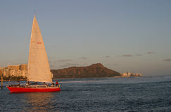 Sailboat Sailingin Waikiki Beach Hawaii Royalty Free Stock Images