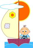 Sailboat and sailor boy - cartoon illustrat Royalty Free Stock Photography