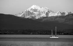 Sailboat Sails Down Motoring Puget Sound Mt Baker Cascade Range Stock Photos