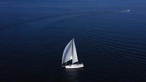 Sailboat sails in the Mediterranean Sea. In Croatia stock footage