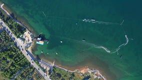 Sailboat sails in the Mediterranean Sea. In Croatia stock video footage