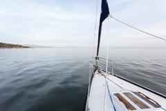 Sailboat and San Pablo Bay at sunrise Royalty Free Stock Images
