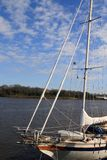 Sailboat on Savannah river. Side view of sailboat or yacht moored on Savannah river, South Carolina and Georgia, U.S.A royalty free stock photos