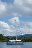 Sailboat at Savusavu harbor, Vanua Levu island, Fiji Royalty Free Stock Images