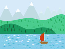 Sailboat with scarlet sails. Sailboat with scarlet sails on a background of mountains stock illustration