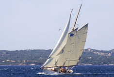 Sailboat. A schooner back upwind with the mistral Royalty Free Stock Image