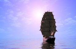 Sailboat in the sea. Royalty Free Stock Photos