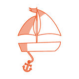 Sailboat sea with anchor Stock Images