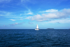 Sailboat in sea. Beautiful seascape, Thailand Royalty Free Stock Photo