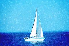 Sailboat at sea. A brush-painted looking image of sailboat at sea Stock Image
