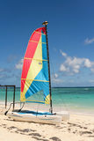 Sailboat and sea. Sailboat on a clear and sunny day beside the Caribbean sea. Taken at Bavaro, Dominican Republic Stock Photography