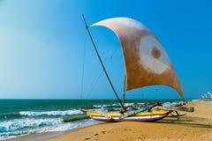 Sailboat on the sea coast Stock Photography