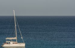 Sailboat on the sea with copy space as a template stock photos