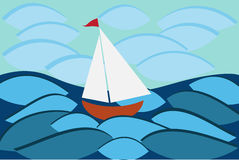 Sailboat in sea Royalty Free Stock Photos
