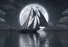 Sailboat on the sea in front of full moon royalty free illustration