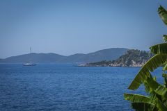 Sailboat in the sea of Lefkada by Greece royalty free stock photos