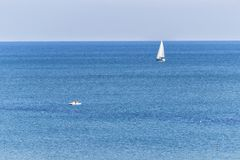 Sailboat in the sea. luxury yachting in a calm water. for marine and navigation concept Royalty Free Stock Photo