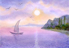 Sailboat on the  sea meets the sun. Watercolor landscape. Sailboat on a quiet sea meets the rising sun Stock Image