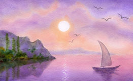 Sailboat on the  sea meets the sun. Watercolor landscape. Sailboat on a quiet sea meets the rising sun Royalty Free Stock Image