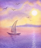 Sailboat on the  sea meets the sun. Watercolor landscape. Sailboat on a quiet sea meets the rising sun Royalty Free Stock Photography