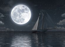 Sailboat on the sea at night with full moon stock illustration