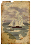 Sailboat at sea. Old postcard. Isolated Royalty Free Stock Photography