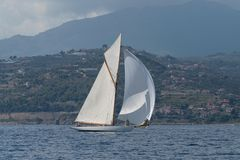 Sailboat on sea stock image