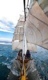 Sailboat at sea, open ocean sailing Stock Photo