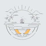 Sailboat and sea. Recreation on beach and island.Sailboat at the sea background.With holiday relaxing.Vector illustration Royalty Free Stock Images