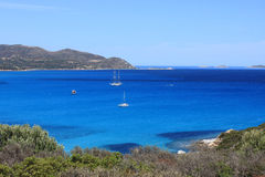 Sailboat in the sea of ​​Sardinia Stock Photos