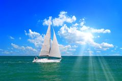 Sailboat in the sea in summer. Sailboat in the sea under the sun royalty free stock image