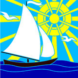 Sailboat, sea and sun Stock Photography