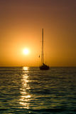 Sailboat and sea sunset Stock Photography