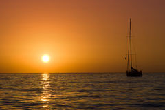 Sailboat and sea sunset Royalty Free Stock Images
