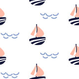 Sailboat seamless kid vector pattern in scandinavian style. Stock Photography