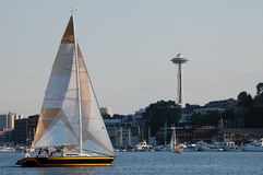 Sailboat and Seattles Space Needle Stock Image