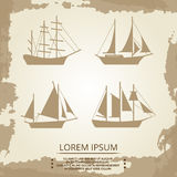 Sailboat or ship icons on vintage background. Vintage pirate ships set. Vector illustration Stock Image