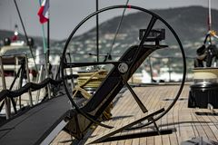 Sailboat in the harbor of Saint-Tropez stock images