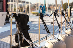 Sailboat Side and Deck CloseUp Royalty Free Stock Photography