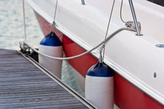 Sailboat Side Fenders CloseUp. Boat protection Royalty Free Stock Photos