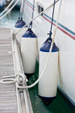 Sailboat Side Fenders CloseUp. Boat protection Stock Photos