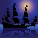 Sailboat silhouette. Vector illustration of sailboat silhouette with reflection Stock Image