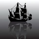 Sailboat silhouette. Vector illustration of sailboat silhouette with reflection Royalty Free Stock Photos