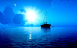 Sailboat silhouette Royalty Free Stock Photography