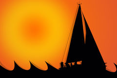 Sailboat Silhouette in a sunny day. With orange background Royalty Free Stock Photo