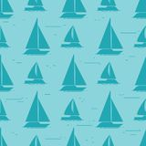 Sailboat silhouettes seamless pattern design. Sea nautical ship travel, vector illustration Stock Images
