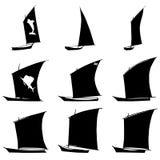 Sailboat Silhouettes Set Royalty Free Stock Photo