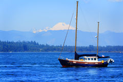 Sailboat Sitting Under Mt Baker Stock Photos