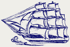 Sailboat sketch. Doodle style. Vector Stock Image