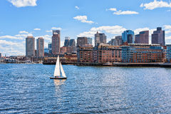 Sailboat with the skyline Boston MA America royalty free stock photo